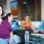 Ros, Kosie, Amy - tuning in - Workshop at Amy's family guesthouse - On the Beach in Jeffreys Bay