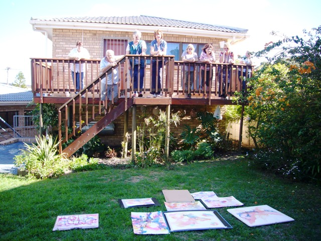 We needed to move into the garden to free us up to splash with reckless abandon; then viewing the creations from a little height gives an altered perspective.